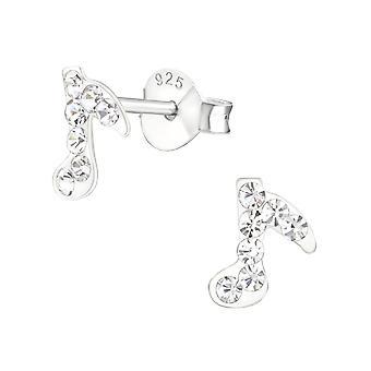 Music Note - 925 Sterling Zilver Crystal Ear Studs - W19633x