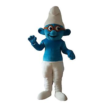 mascot SPOTSOUND of the Smurf with glasses, famous comic book character