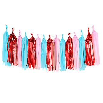 TRIXES 15PKS of 5PCS Tissue Paper Garland Red Blue Pink