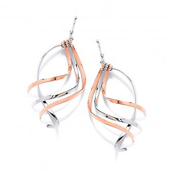 Cavendish French Silver and Copper Swirling Strands Earrings