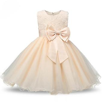 Princess dress with rosette and Flowers-Beige