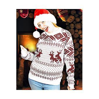 Mężczyźni stroje brzydkie christmas sweter niegrzeczny renifery brown biały unisex