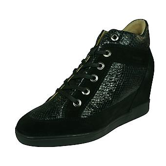 Geox D Carum C Womens Leather Wedge Trainers / Boots - Black