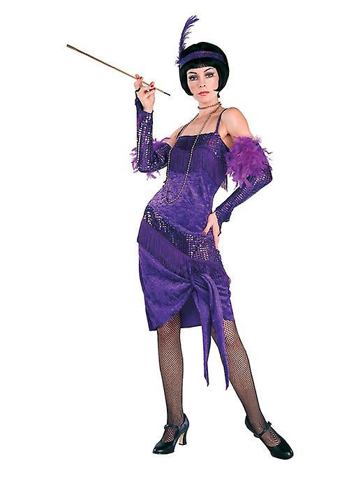 Fantastische Flapper dragen paarse jurk - Lifesize karton knipsel / Standee