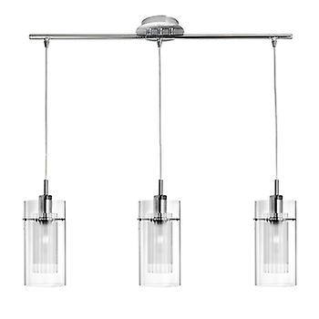 Searchlight 3303-3CC Duo 1 3 Light Pendant With Clear & Frosted Glass