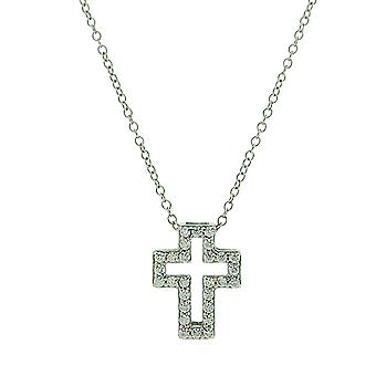 Jo For Girls Sterling Silver Clear CZ Set Cross Pendant Necklace 14+2