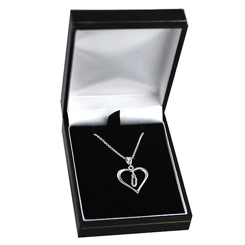 Silver 18x18mm initial U in a heart with rolo chain