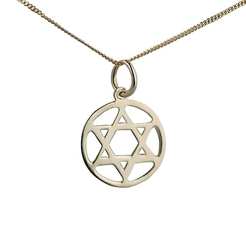 9ct Gold 14mm plain round Star of David Pendant with a curb Chain 18 inch