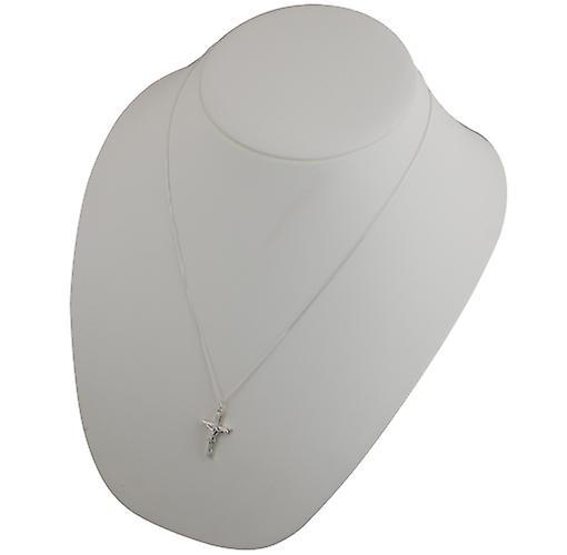 Silver 25x15mm plain block Cricifix with Curb chain