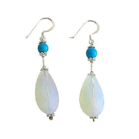 Moonstone Glass Bead Earrings w/ Turquoise Sterling Silver Earring