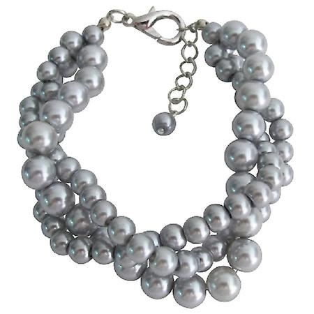 Tripple Strand Silver Pearl Gray Pearl Bracelet At Amazing Price