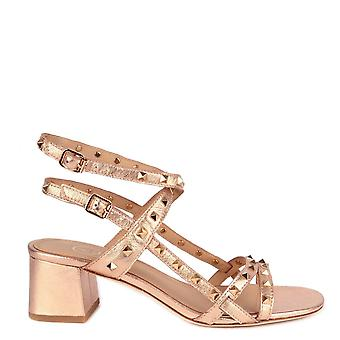 Ash IMAN Block Heel Sandals In Rose Gold Leather