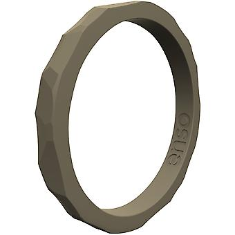 Enso Rings Hammered Stackables Series Silicone Ring - Stone