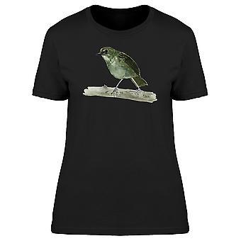 Grüner Vogel auf Zweig Tee Frauen-Bild von Shutterstock