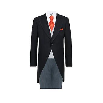Dobell Mens schwarzen Fischgrat 2 Stück Morgen Anzug regelmäßig Fit gestreiften Hosen