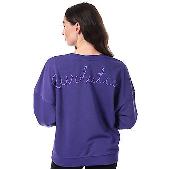 Womens Only Karla Embroidered Crew Sweatshirt In Purple (Deep Blue)