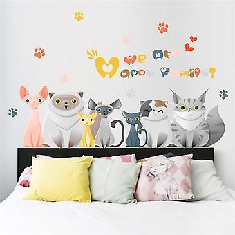 Wall Decor-Happy cat family 98 x 60 cm.
