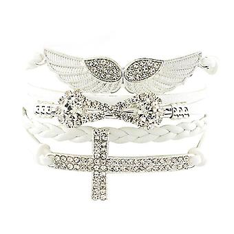 Angel wing wrap crystal bracelet