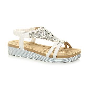 Ajvani dame kile hæl flatform diamante t-bar slingback sandaler