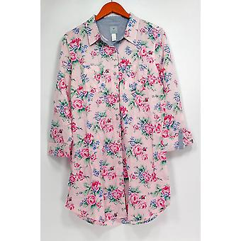 Jane & Becker New York Women ' s sleepshirt abotoado manga comprida rosa A264419