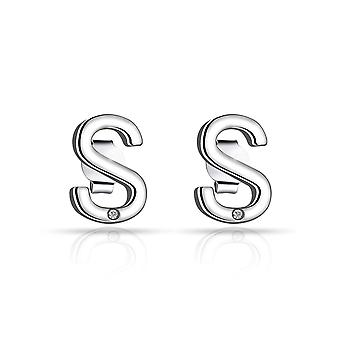 Initial earrings letter s created with swarovski® crystals