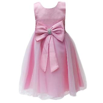 Girls Baby Pink Wedding, Party,Prom,Bridesmaid dress with a big bow