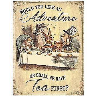 Alice In Wonderland Adventure Tea Party Scene Large Metal Sign 400mm x 300 og