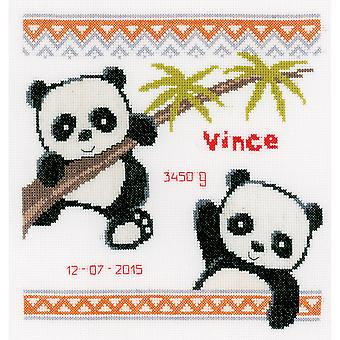 Panda Birth Record On Aida Counted Cross Stitch Kit-8.75