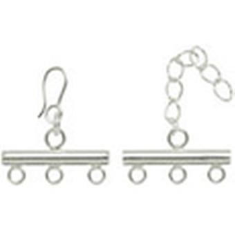 Silver Plated Metal Findings 3 Strand Rod Clasp 1 Pkg 295Slvpl 0270