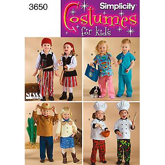 Simplicity Toddlers Costumes 1 2,1,2,3,4 U03650a