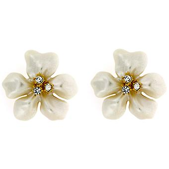 Kenneth Jay Lane Gold Crystal & Pearl Flower Clip On Earrings