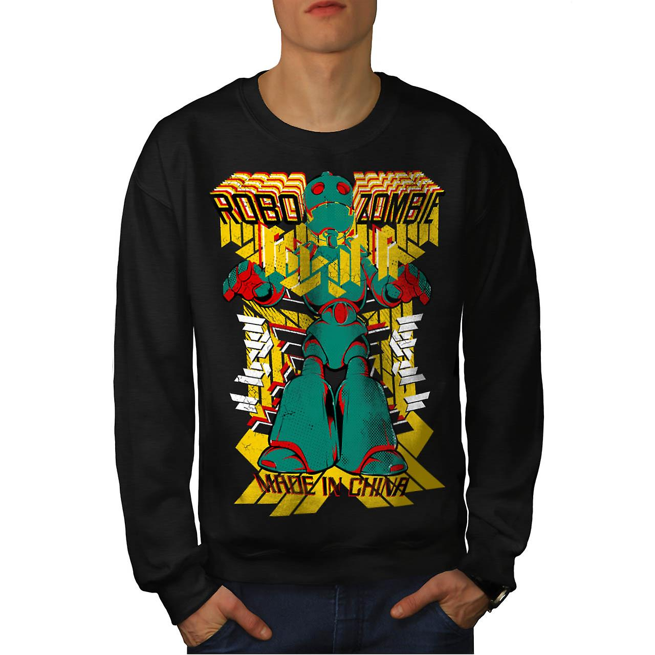 Robot Zombie China metalen vlees mannen zwart Sweatshirt | Wellcoda