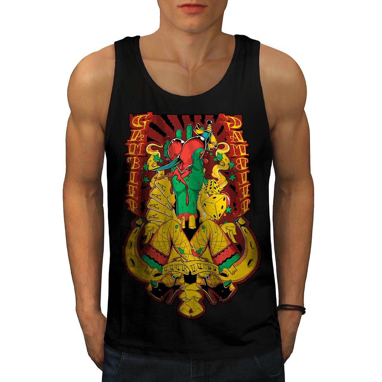 Gambler Luck Lust Sin Aces Card Men Black Tank Top | Wellcoda