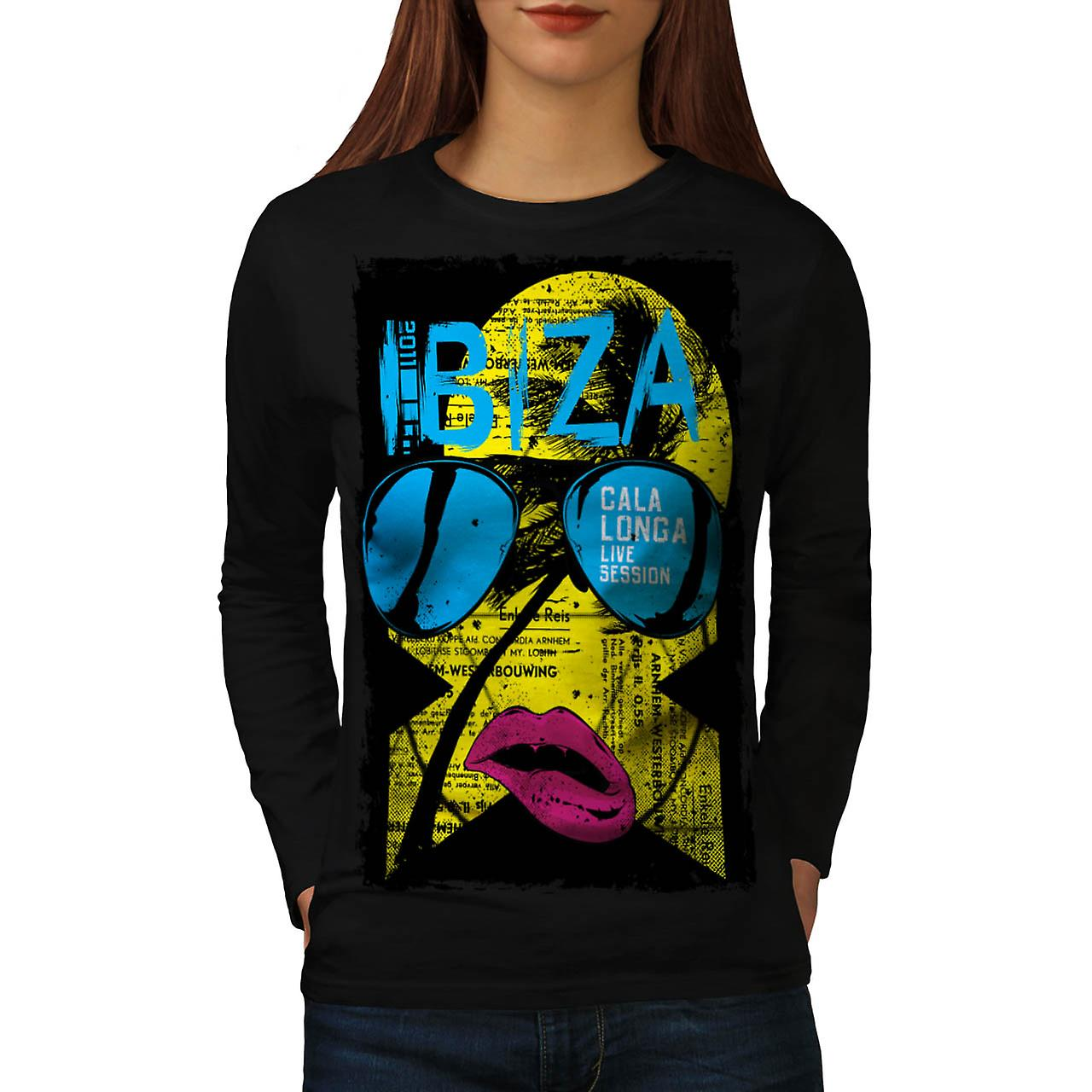 Ibiza Summer Funk Lip Live Music Women Black Long Sleeve T-shirt | Wellcoda