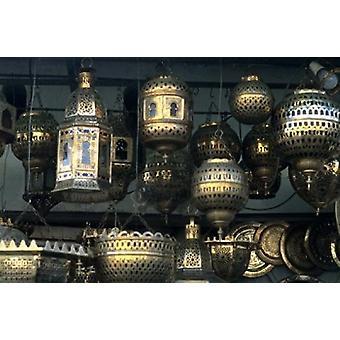 Artwork of Moroccan Brass Lanterns Casablanca Morocco Poster Print by Bill Bachmann