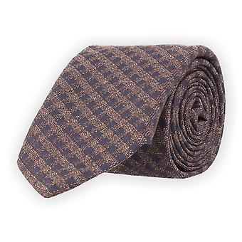 Baldessarini classic tie checkered 7 cm dark brown