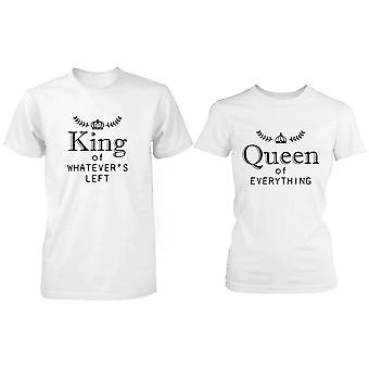 Queen Of Everything, King Of Whatever Left  Matching Valentines Couple T-Shirts