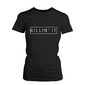 Killin' It Funny Graphic Shirt Trendy Black T-shirt Cute Short Sleeve Tee
