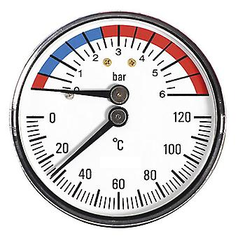 63mm 6bar 120C Thermo Pressure Gauge 1/2inch Rear Entry Manometer