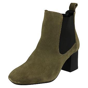 Damer læder samling midten hæl Twin kile ankel støvler F50657