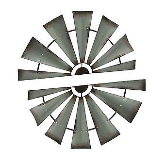 2 قطعة الأسى الفضة ريفي طاحونة معدنية نصف الجدار الشنق تعيين 32 بوصة