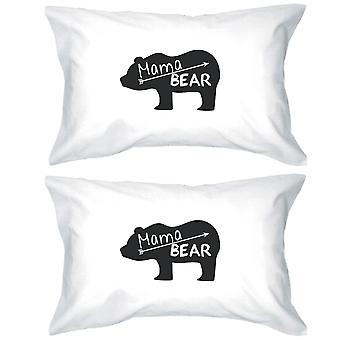 Mama Bear White Cotton Pillow Case Unique Design Gifts For Moms