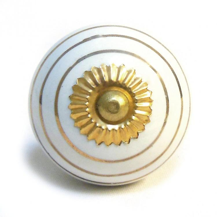 White / Gold Stripes Ceramic Cupboard Knob