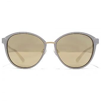Guess Peaked Metal Round Sunglasses In Matte Beige