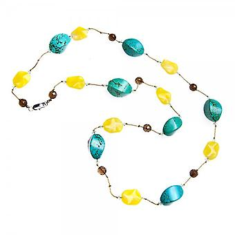 Camille Womens Ladies Fashion Jewellery Aqua And Yellow Glass Bead Stone Necklace