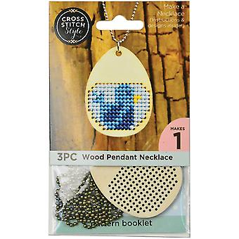 Wood Necklace Punched For Cross Stitch-Egg Shape W/ Ball Chain 60031