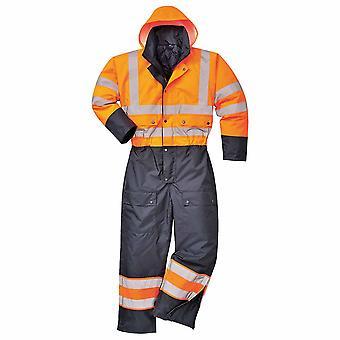sUw - Hi-Vis veiligheid werkkleding Contrast Coverall Boilersuit met kap - Lined