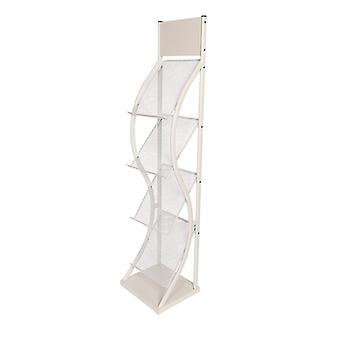 4 Pocket White A4 Brochure Stand - Floor Standing