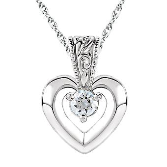 .25 CT Solitaire Heart Real Diamond Solitaire Vintage Pendant 10K White Gold
