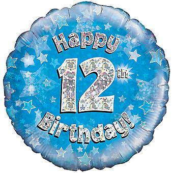 Oaktree 18 Inch Happy 12th Birthday Blue Holographic Balloon